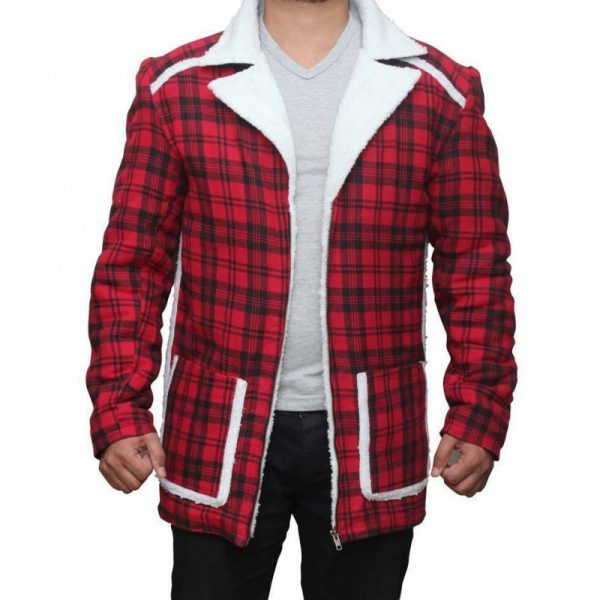 Ryan Reynolds Red Shearling Jacket